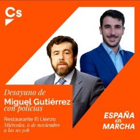 Reunión de Miguel Gutiérrez con policías en Ávila
