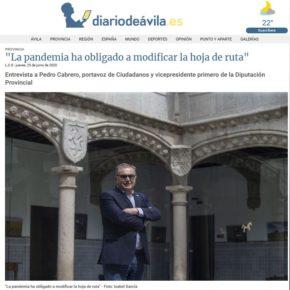 """Pedro Cabrero, en Diario de Ávila: """"La pandemia ha obligado a modificar la hoja de ruta"""""""
